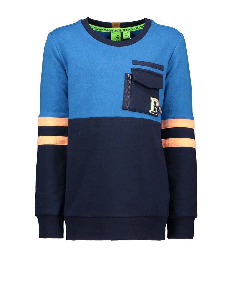 B. Nosy Boys color block sweater with contrast strokes on sleeves