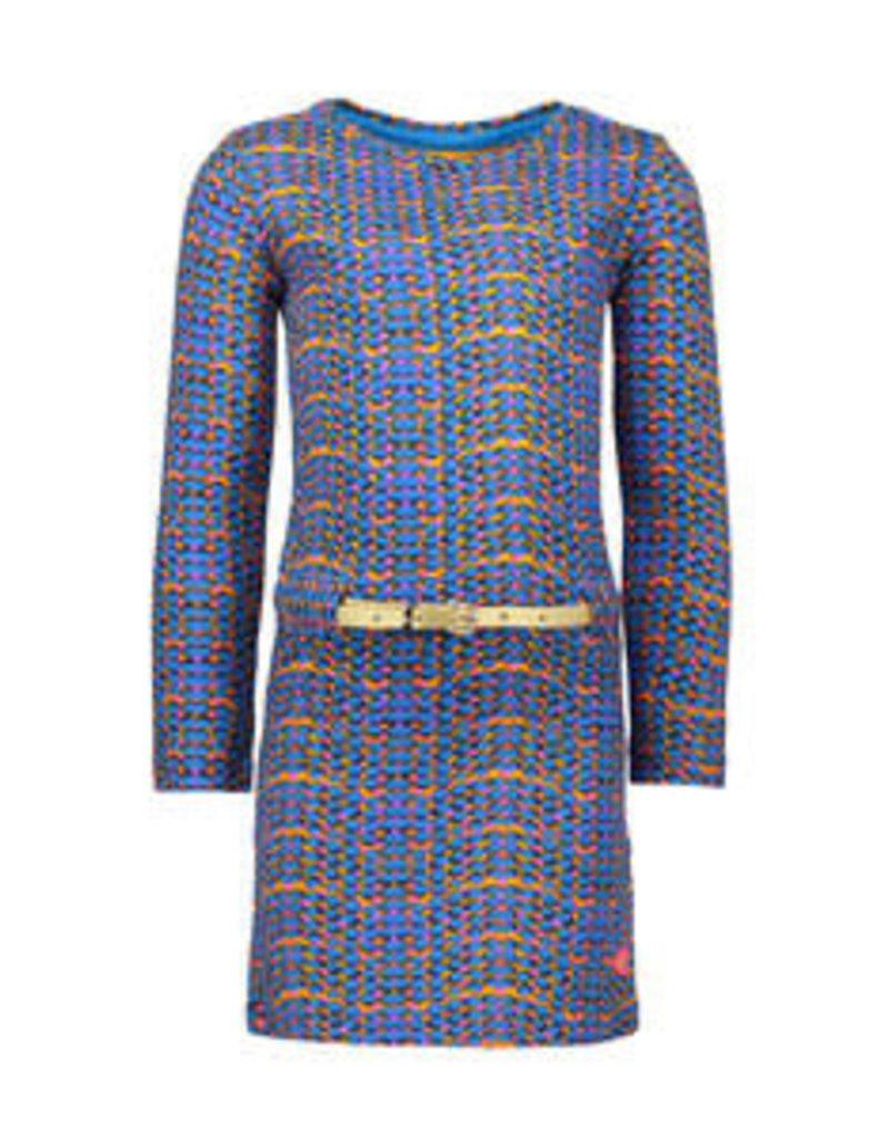Kidz Art Girls dress l/s allover dots + golden belt