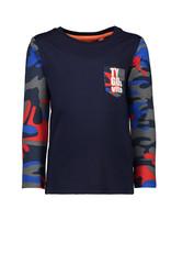 Tygo & Vito T&v t-shirt LS combi solid-AOP sleeves pocket TYGO & vito