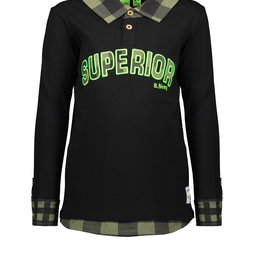 B. Nosy Boys ls shirt with fake blouse part, apllication on chest