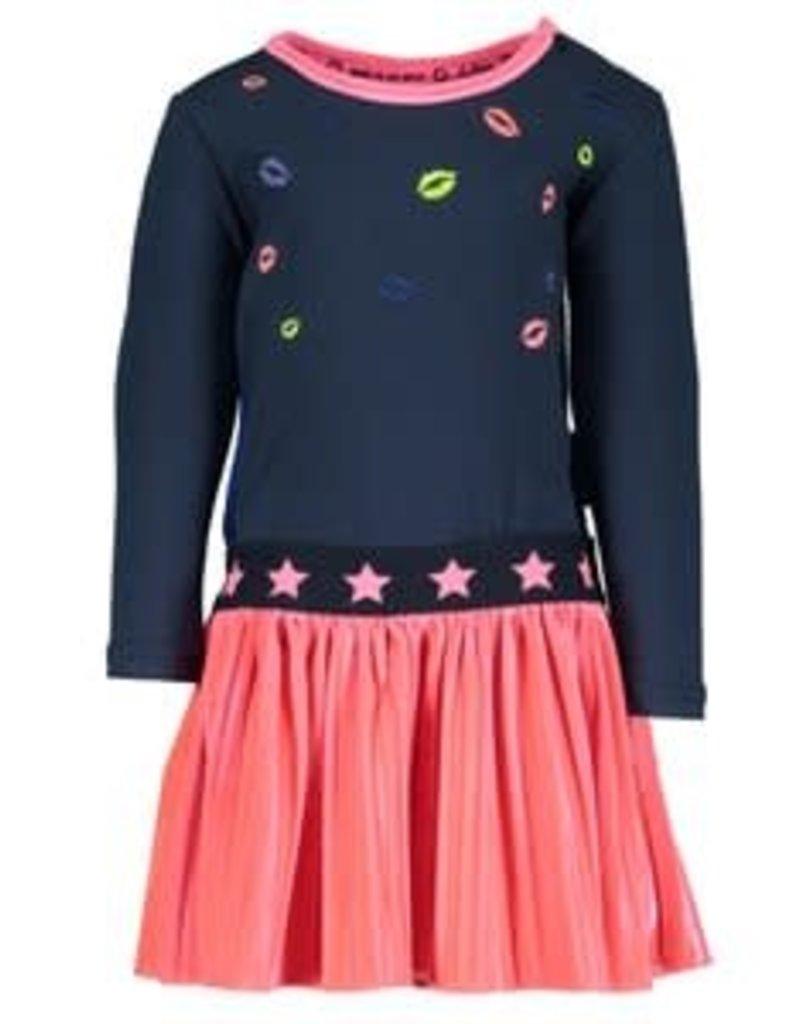 B. Nosy Baby girls dress with velvet plisse skirt, embroidery lips