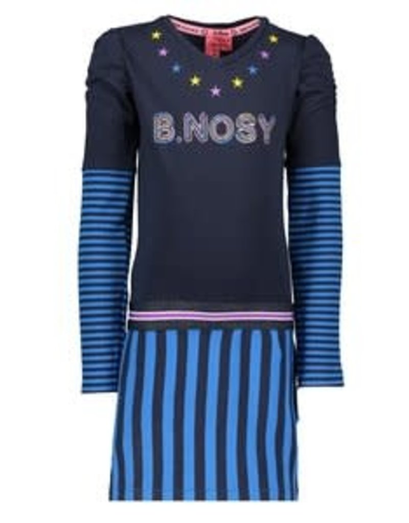 B. Nosy Girls dress with rib skirt & cuff part, embroidery star at neck