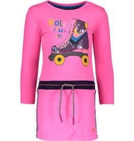 Kidz Art Girls dress l/s plain with rib waist + fancy tapes SKATE