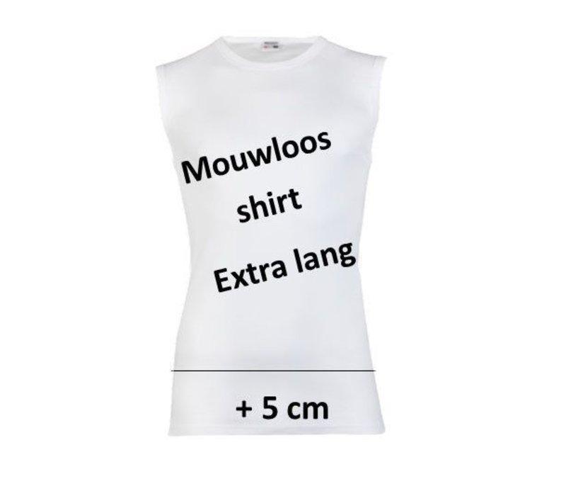 heren extra lang mouwloos shirt wit