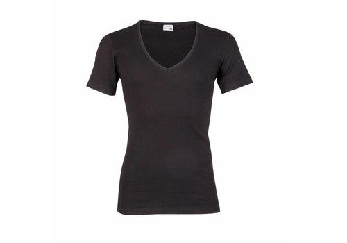 Beeren Heren Diepe V-Hals T-Shirt Extra Lang M3000 Zwart