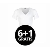 Beeren Heren Diepe V-Hals T-Shirt Extra Lang M3000 Wit voordeelpack