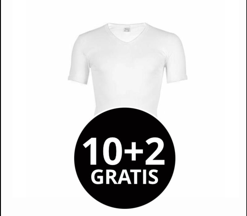 Beeren Heren V-Hals T-Shirt Extra Lang M3000 Wit Mega voordeelpack