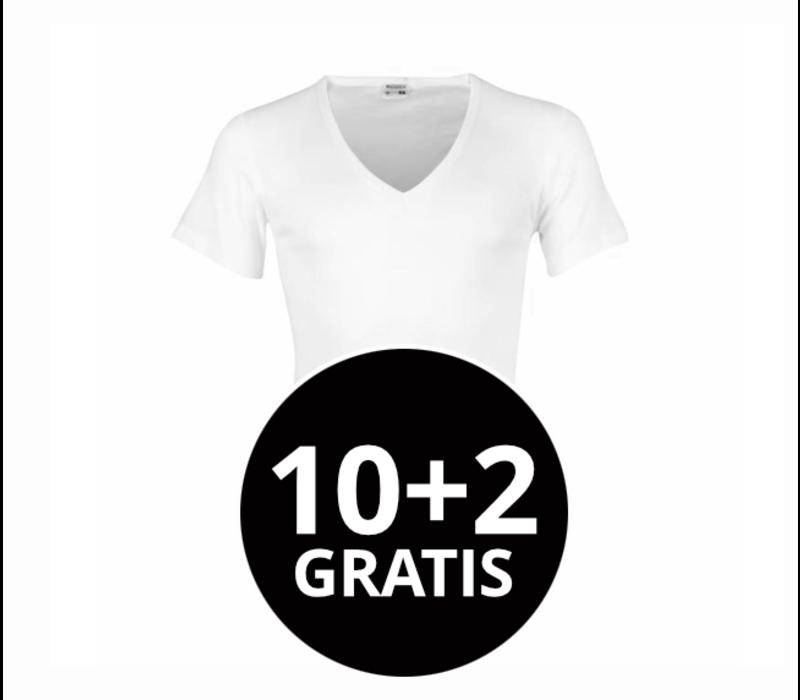 Beeren Heren T-Shirt Diepe V-Hals M3000 Wit mega voordeelpack