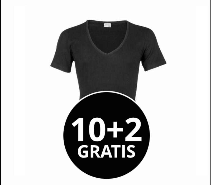 Beeren Heren T-Shirt Diepe V-Hals M3000 Zwart Mega voordeelpack