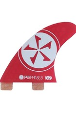 Phase Five Phase Five 3.7 FCS Twin Fin Set Red for Surf Style Boards