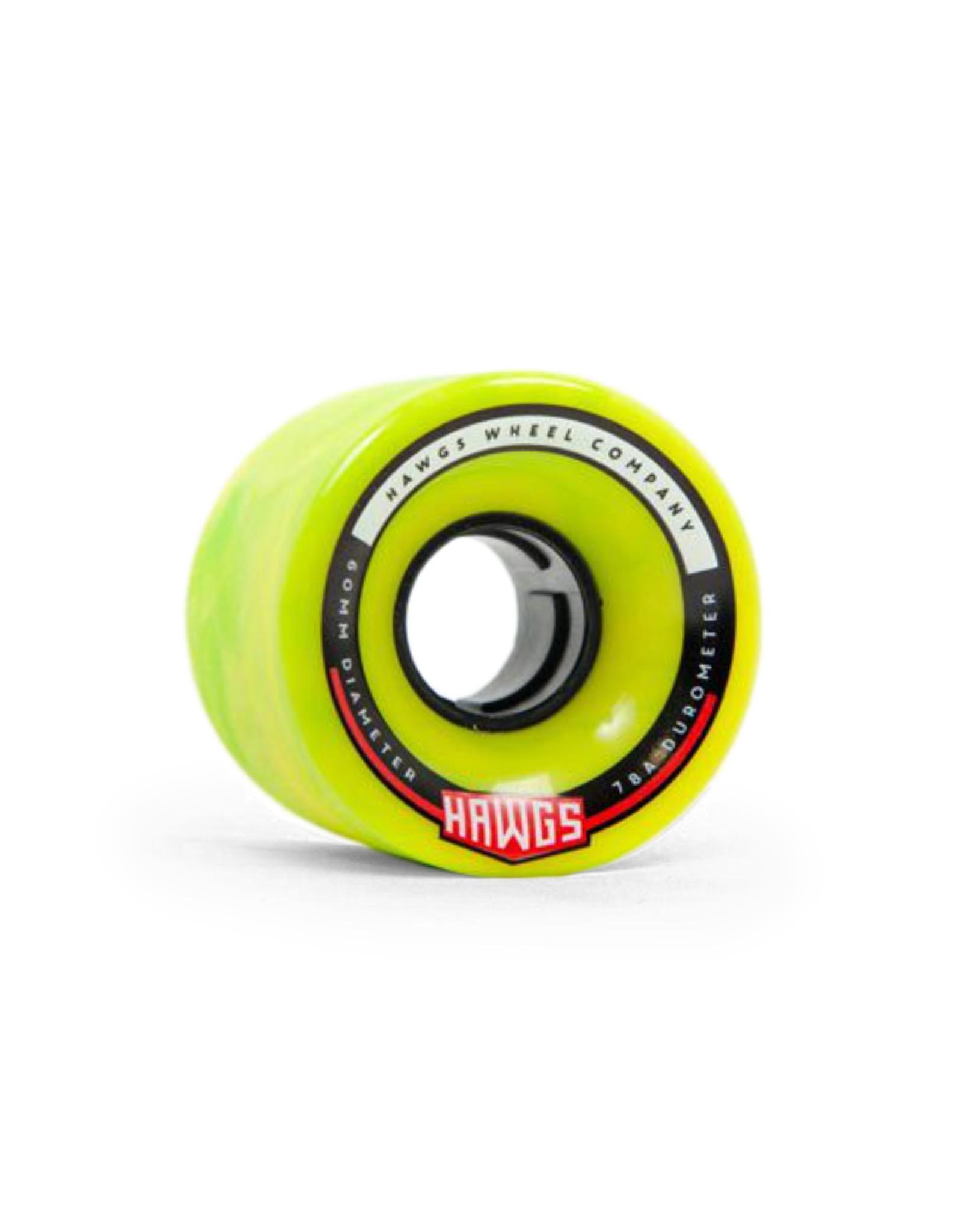 Hawgs Wheels Hawgs Chubby Wheels 60 mm 78A Green/Yellow Swirl Set of 4