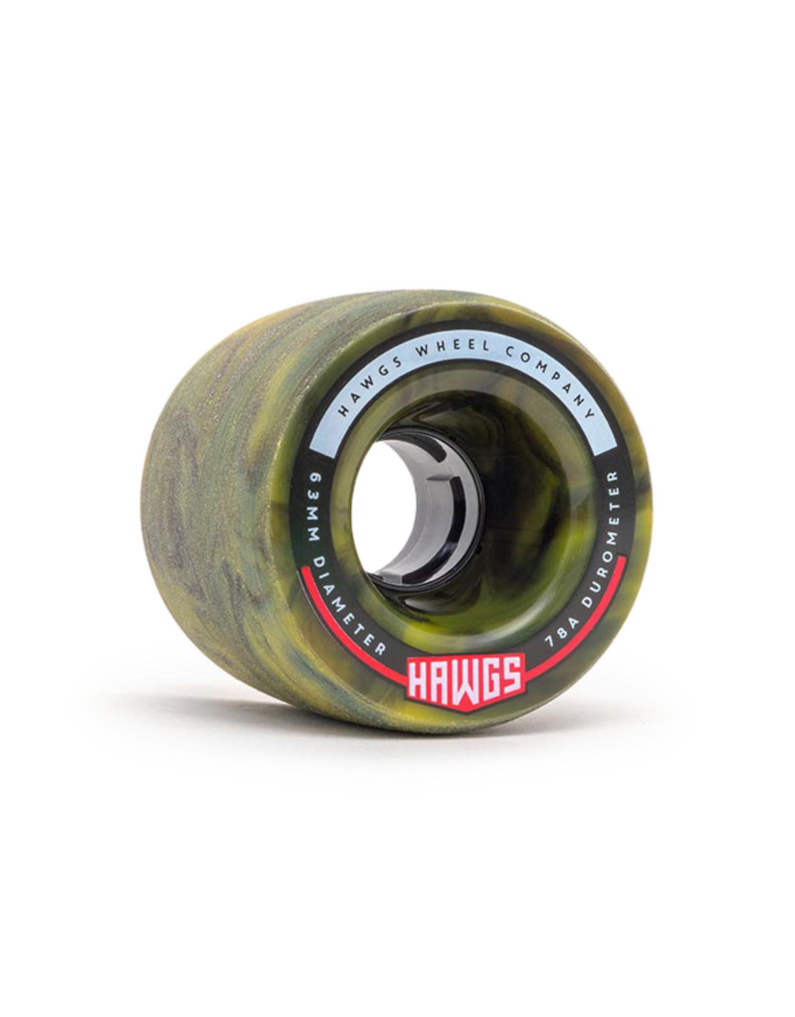 Hawgs Wheels Hawgs Fatty Wheels 63 mm 78A Yellow/Black Swirl Set of 4