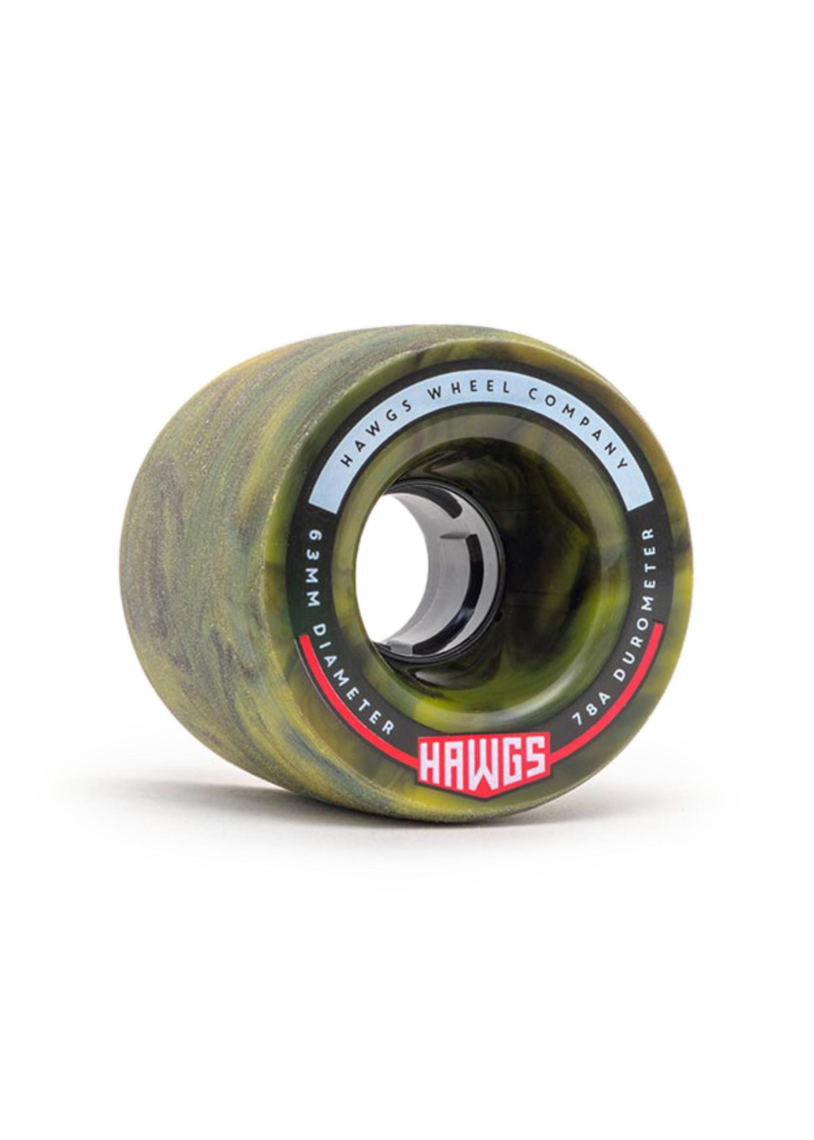 Hawgs Wheels Hawgs Fatty Rollen 63 mm 78A Yellow/Black Swirl 4er-Set