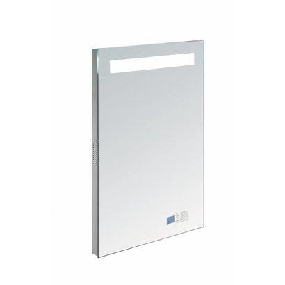 Aluminium spiegel met LED verlichting, radio en bluetooth 60 incl. spiegelverwarming