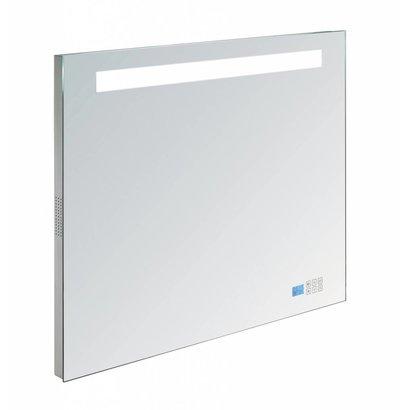 Aluminium spiegel met LED verlichting, radio en bluetooth 80 incl. spiegelverwarming