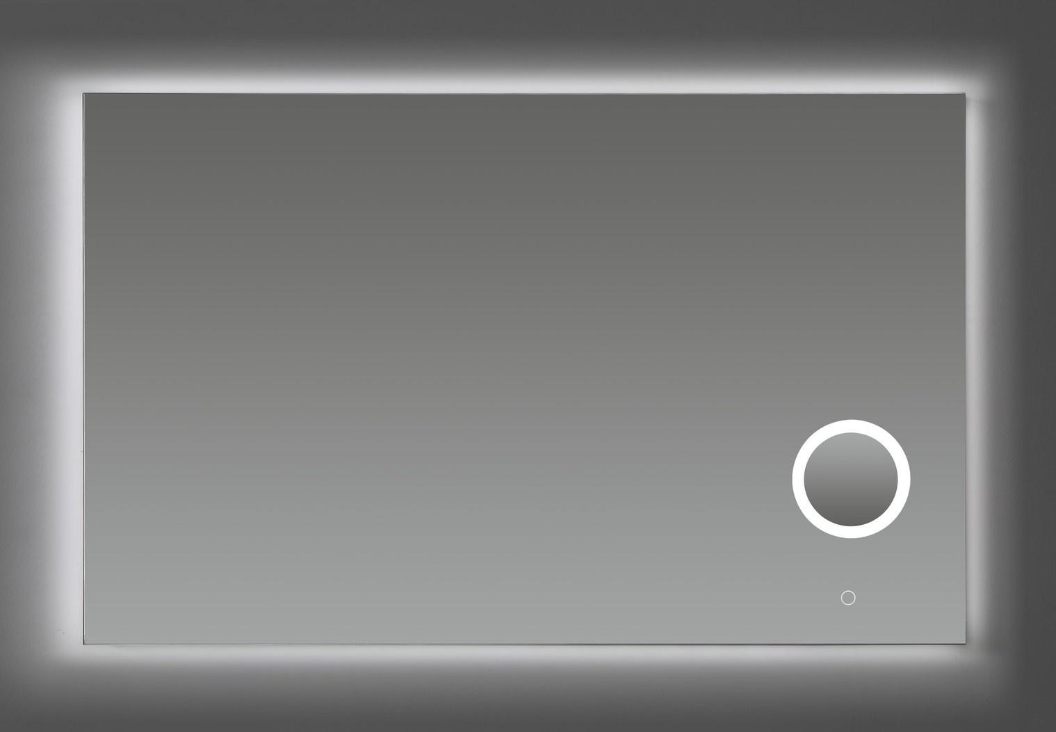 Aluminium spiegel met make-up spiegel met LED verlichting en 3 kleur instelbaar & dimbaar