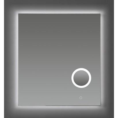 Aluminium spiegel met make-up spiegel met LED verlichting, 3 kleur instelbaar & dimbaar 60 incl. spiegelverwarming