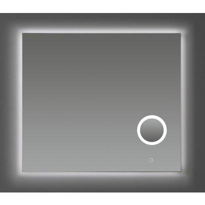 Aluminium spiegel met make-up spiegel met LED verlichting en 3 kleur instelbaar & dimbaar 80 incl. spiegelverwarming
