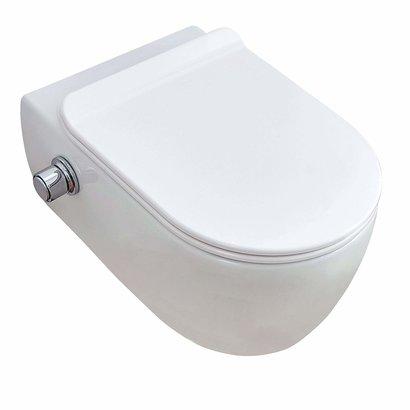 Wandcloset easy flush rimfree standaard met Bidet 36x55x25 cm met slim flatline softclose zitting