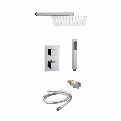 Doucheset inbouw met thermostaat en muurbevestiging / douchekop 20 cm vierkant Chroom