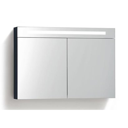 Spiegelkast met LED verlichting incl. opbouw stopcontact schakelaar 120 Hoogglans Antraciet