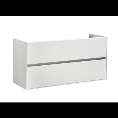 Compact Greeploos onderkast met greeplijst aluminium 120 Hoogglans Wit