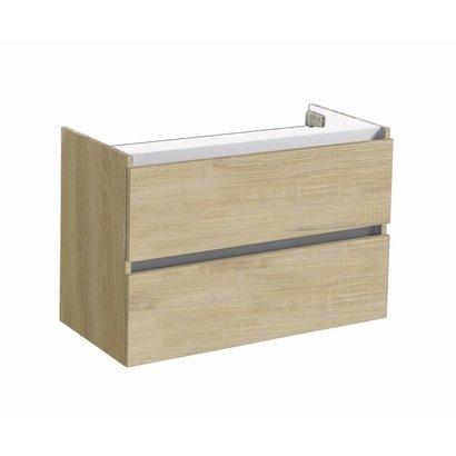 Trendline onderkast met greeplijst aluminium 80 Light Wood
