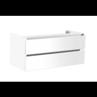 Trendline onderkast met greeplijst aluminium 140 Hoogglans Wit