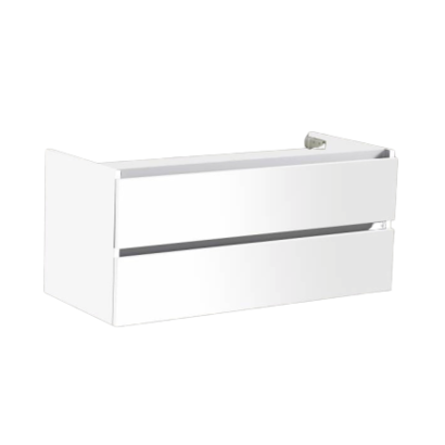 Trendline onderkast met greeplijst aluminium 120 Hoogglans Wit