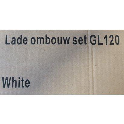 Ombouwset voor bovenlade naar 1 sifon uitsparing t.b.v. enkele wastafel 120 cm