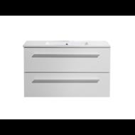 Aktieset badmeubel DL met greep aluminium 80 mat wit zonder spiegel