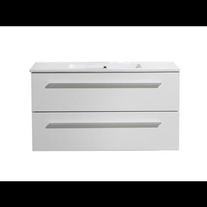 Aktieset badmeubel DL met greep aluminium 100 mat wit zonder spiegel
