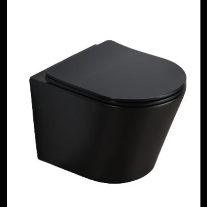 Wandcloset rimless budget compact Mat Zwart 36x48x25 cm met slim flatline softclose zitting