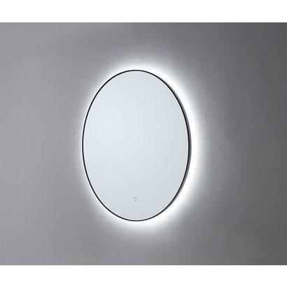 Ronde spiegel Mat Zwart met LED verlichting en 3 kleur instelbaar & dimbaar 100