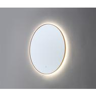 Ronde spiegel Goud Geborsteld met LED verlichting en 3 kleur instelbaar & dimbaar 80 incl. spiegelverwarming