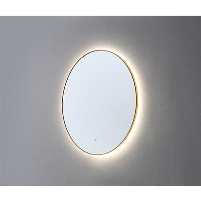 Ronde spiegel Goud Geborsteld met LED verlichting, 3 kleur instelbaar & dimbaar 80 incl. spiegelverwarming
