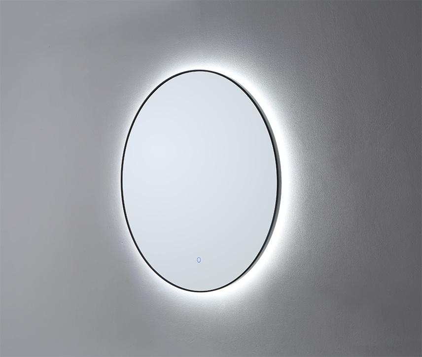 Ronde spiegel Mat Zwart met LED verlichting, 3 kleur instelbaar & dimbaar