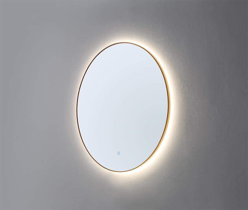 Ronde spiegel Goud Geborsteld met LED verlichting, 3 kleur instelbaar & dimbaar