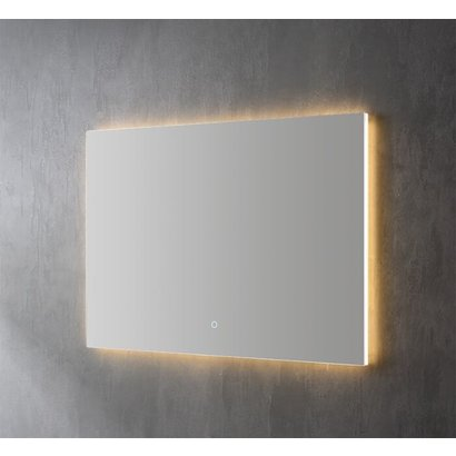 Aluminium spiegel decor met indirecte LED verlichting, 3 kleur instelbaar & dimbaar 120x70x3 cm incl. spiegelverwarming