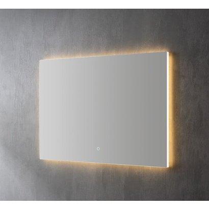 Aluminium spiegel decor met indirecte LED verlichting, 3 kleur instelbaar & dimbaar 100x70x3 cm incl. spiegelverwarming