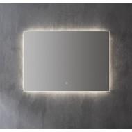 Aluminium spiegel decor met indirecte LED verlichting, 3 kleur instelbaar & dimbaar 80x70x3 cm incl. spiegelverwarming