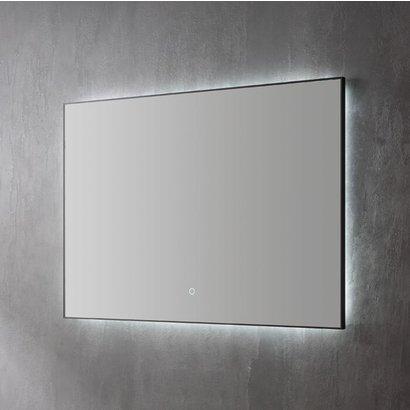 Aluminium spiegel decor Mat Zwart met indirecte LED verlichting, 3 kleur instelbaar & dimbaar 120x70x3 cm incl. spiegelverwarming