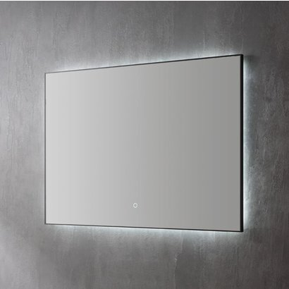 Aluminium spiegel decor Mat Zwart met indirecte LED verlichting, 3 kleur instelbaar & dimbaar 100x70x3 cm
