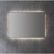 Aluminium spiegel decor Mat Zwart met indirecte LED verlichting, 3 kleur instelbaar & dimbaar 100x70x3 cm incl. spiegelverwarming