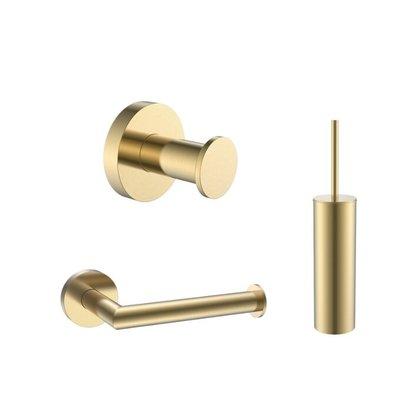 Toilet accessoireset rond Goud Geborsteld