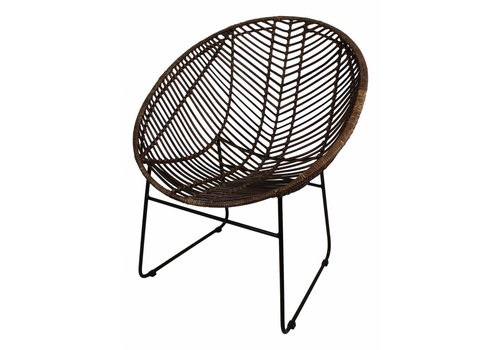 HSM Collection Fauteuil Cocon rotan donkerbruin