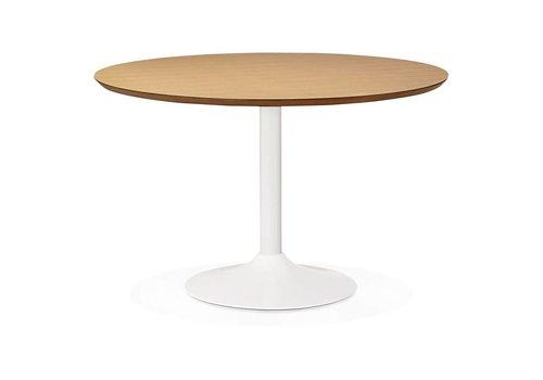Kokoon design Eettafel BURO rond 120cm wit/eiken