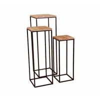 Bijzettafel  YARULA set van 3 metaal/hout
