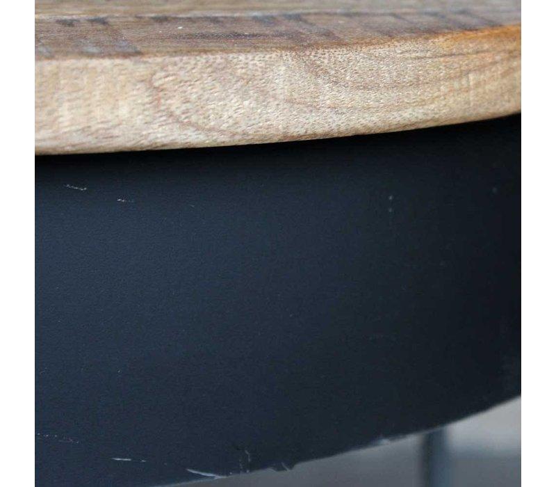Salontafel rond Saria 80 cm mangohout-metaal