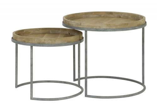 hoom-amsterdam Salontafels COPAN  set van 2 grey+wood